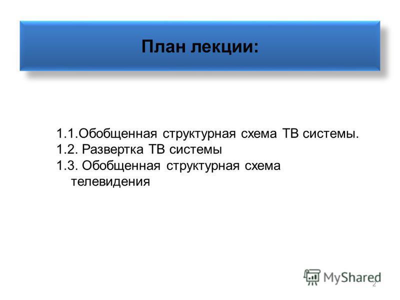 2 План лекции: 1.1. Обобщенная структурная схема ТВ системы. 1.2. Развертка ТВ системы 1.3. Обобщенная структурная схема телевидения