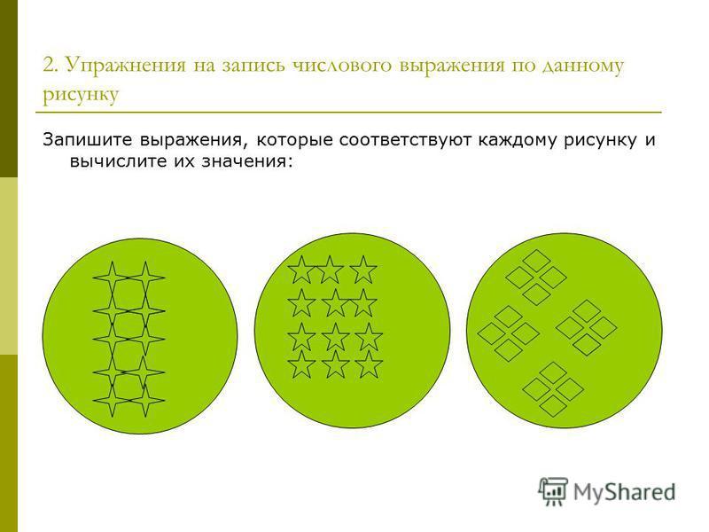 2. Упражнения на запись числового выражения по данному рисунку Запишите выражения, которые соответствуют каждому рисунку и вычислите их значения: