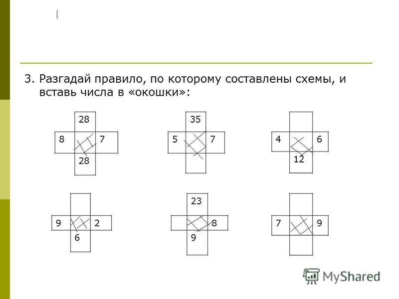 3. Разгадай правило, по которому составлены схемы, и вставь числа в «окошки»: 46 12 28 87 92 6 79 35 57 23 8 9