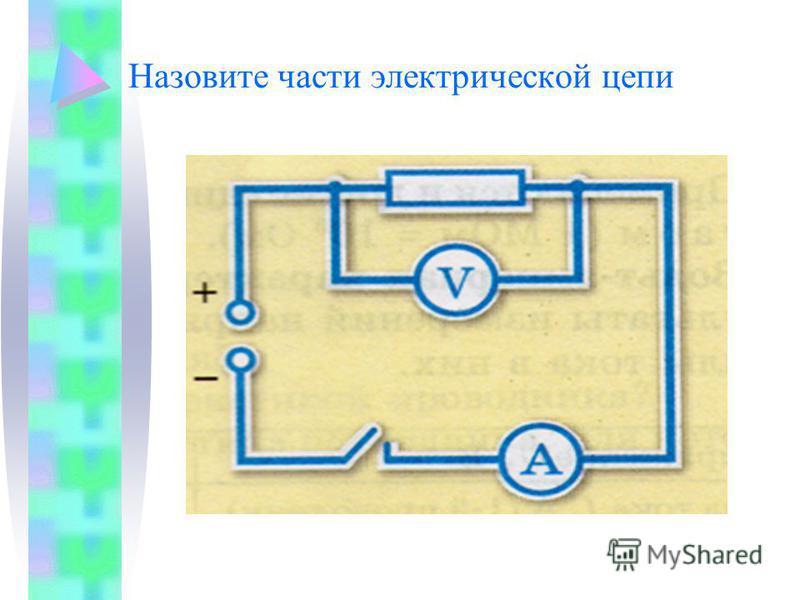 Назовите части электрической цепи