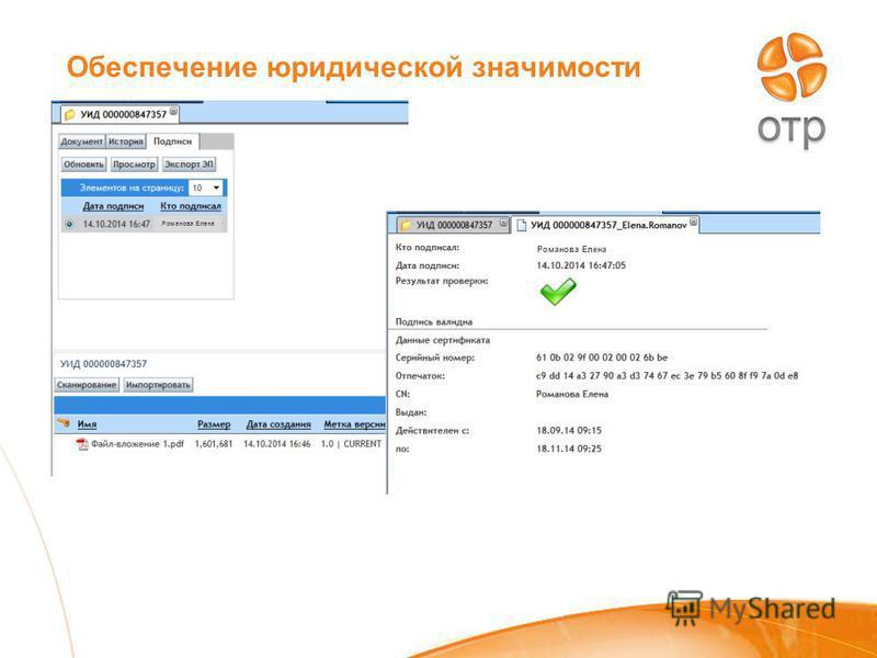 Обеспечение юридической значимости Романова Елена