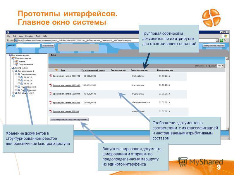 Прототипы интерфейсов. Главное окно системы 9 Отображение документов в соответствии с их классификацией и настраиваемым атрибутивным составом Хранение документов в структурированном реестре для обеспечения быстрого доступа Запуск сканирования докумен
