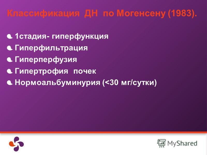 Классификация ДН по Могенсену (1983). 1 стадия- гиперфункция Гиперфильтрация Гиперперфузия Гипертрофия почек Нормоальбуминурия (