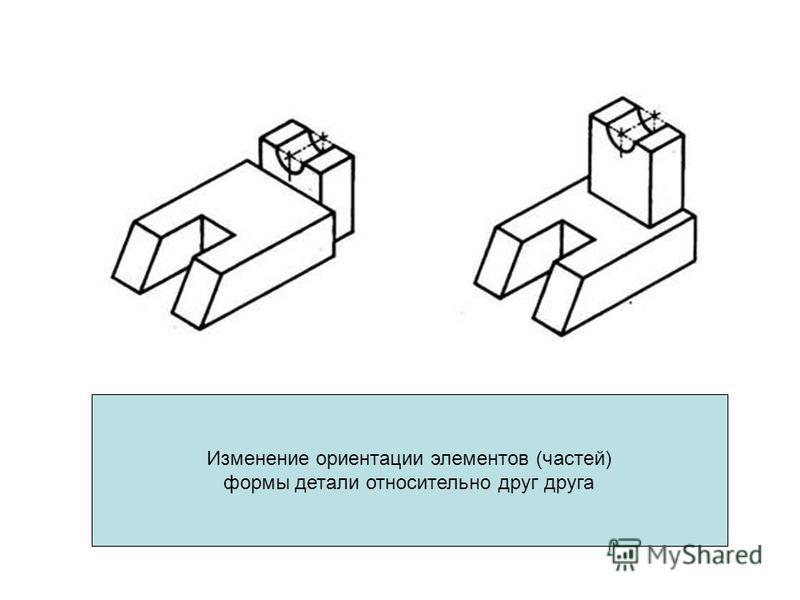Изменение ориентации элементов (частей) формы детали относительно друг друга