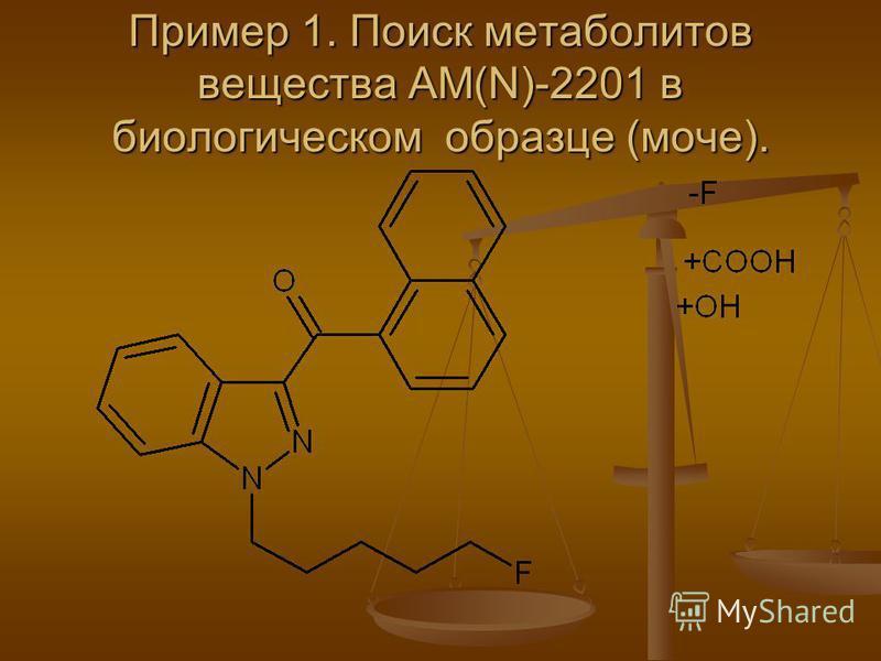 Пример 1. Поиск метаболитов вещества АМ(N)-2201 в биологическом образце (моче).