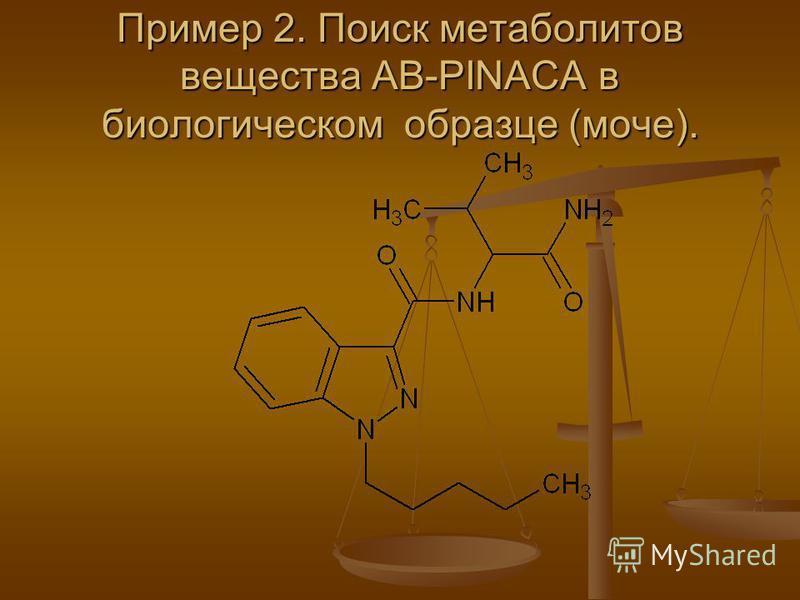 Пример 2. Поиск метаболитов вещества AB-PINACA в биологическом образце (моче).