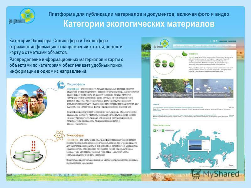 Платформа для публикации материалов и документов, включая фото и видео Категории экологических материалов Категории Экосфера, Социосфера и Техносфера отражают информацию о направлении, статьи, новости, карту с отметками объектов. Распределение информ