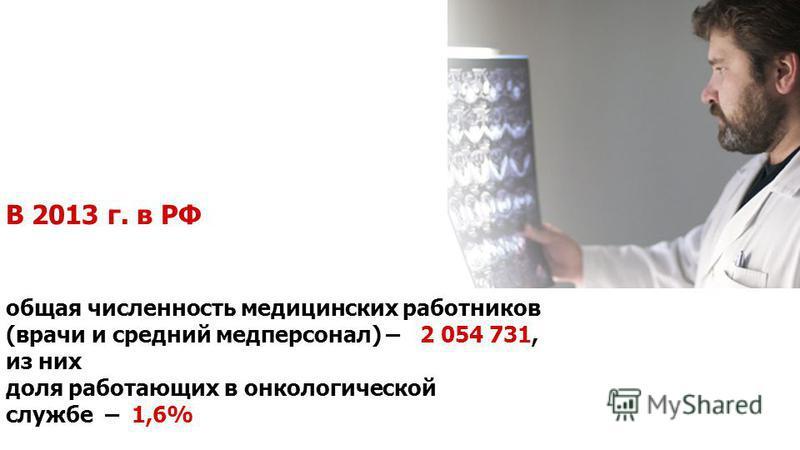 В 2013 г. в РФ общая численность медицинских работников (врачи и средний медперсонал) – 2 054 731, из них доля работающих в онкологической службе – 1,6%