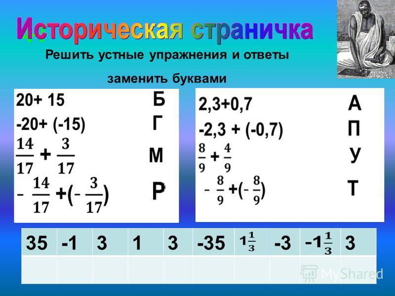 -6 +7 Решить устные упражнения и ответы заменить буквами 35313-35-33