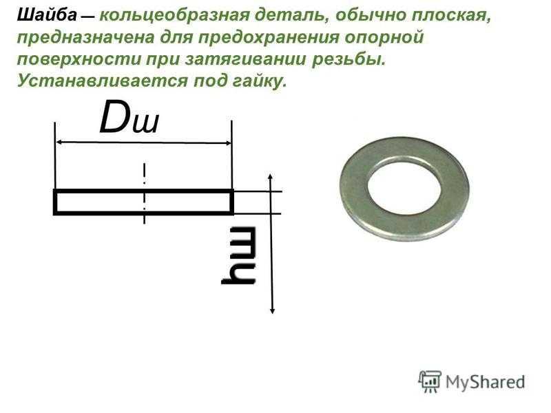 Шайба кольцеобразная деталь, обычно плоская, предназначена для предохранения опорной поверхности при затягивании резьбы. Устанавливается под гайку. DшDш hшhшhшhш