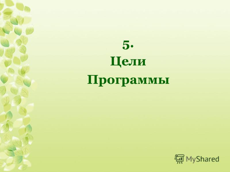 5. Цели Программы