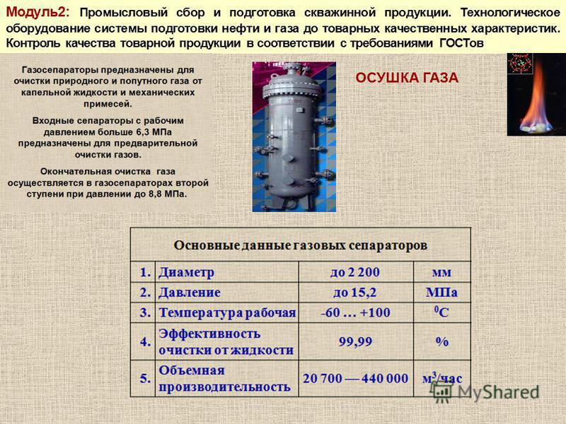Модуль 2: Промысловый сбор и подготовка скважинной продукции. Технологическое оборудование системы подготовки нефти и газа до товарных качественных характеристик. Контроль качества товарной продукции в соответствии с требованиями ГОСТов ОСУШКА ГАЗА