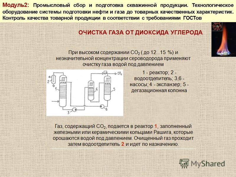 Модуль 2: Промысловый сбор и подготовка скважинной продукции. Технологическое оборудование системы подготовки нефти и газа до товарных качественных характеристик. Контроль качества товарной продукции в соответствии с требованиями ГОСТов ОЧИСТКА ГАЗА