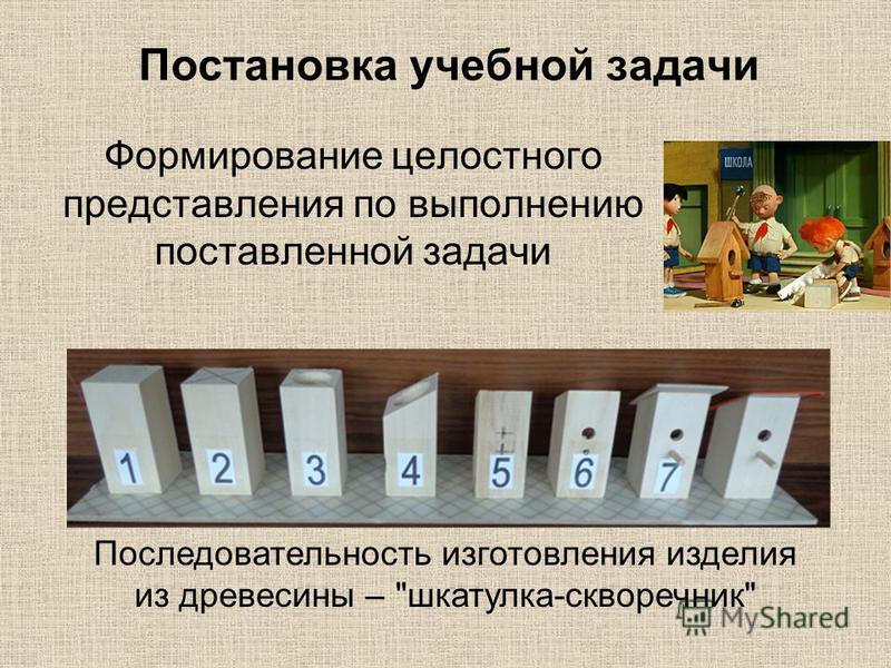 Постановка учебной задачи Формирование целостного представления по выполнению поставленной задачи Последовательность изготовления изделия из древесины – шкатулка-скворечник