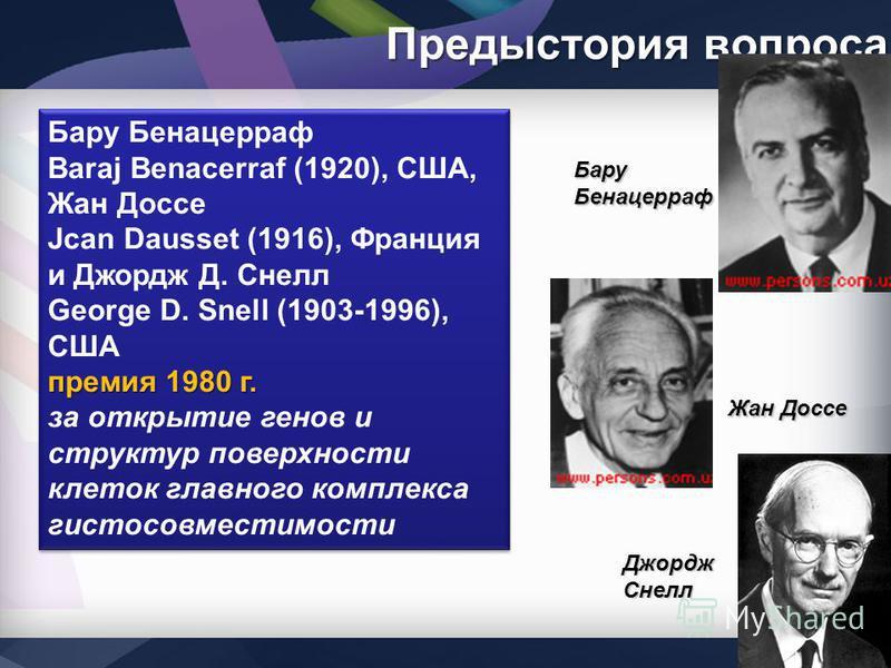 Предыстория вопроса Бару Бенацерраф Baraj Benacerraf (1920), США, Жан Доссе Jcan Dausset (1916), Франция и Джордж Д. Снелл George D. Snell (1903-1996), США премия 1980 г. за открытие генов и структур поверхности клеток главного комплекса гистосовмест