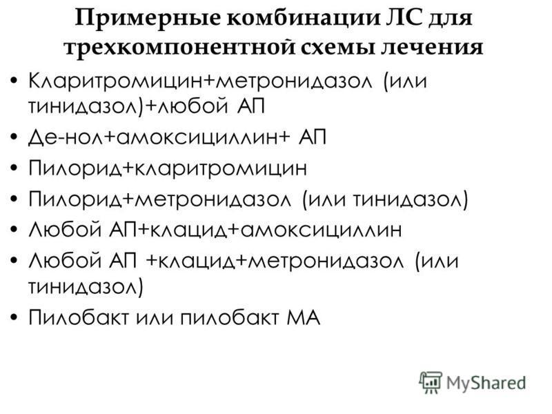 Примерные комбинации ЛС для трехкомпонентной схемы лечения Кларитромицин+метронидазол (или тинидазол)+любой АП Де-нол+амоксициллин+ АП Пилорид+кларитромицин Пилорид+метронидазол (или тинидазол) Любой АП+клацид+амоксициллин Любой АП +клацид+метронидаз