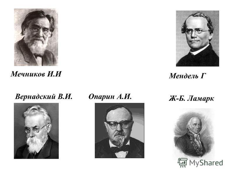 Мечников И.И Вернадский В.И. Опарин А.И. Мендель Г Ж-Б. Ламарк