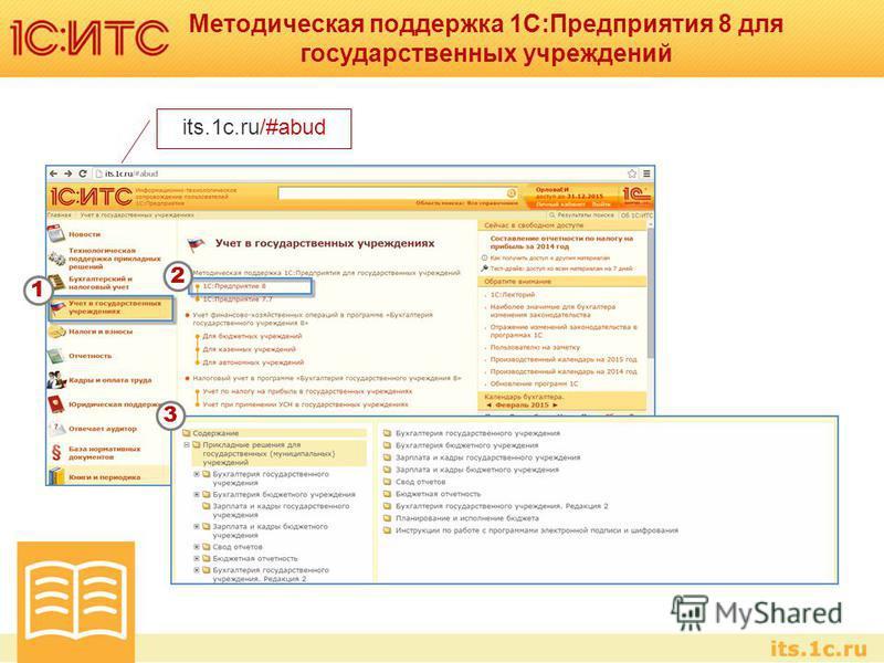 Методическая поддержка 1С:Предприятия 8 для государственных учреждений its.1c.ru/#abud 1 2 3