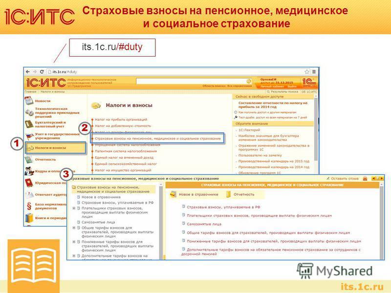 Страховые взносы на пенсионное, медицинское и социальное страхование its.1c.ru/#duty 1 2 3