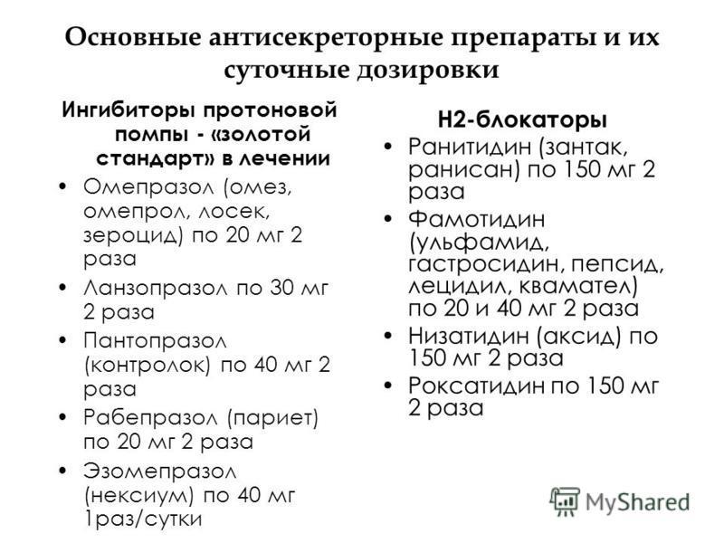 Основные антисекреторные препараты и их суточные дозировки Ингибиторы протоновой помпы - «золотой стандарт» в лечении Омепразол (омез, омепрол, лосек, зероцид) по 20 мг 2 раза Ланзопразол по 30 мг 2 раза Пантопразол (контролок) по 40 мг 2 раза Рабепр