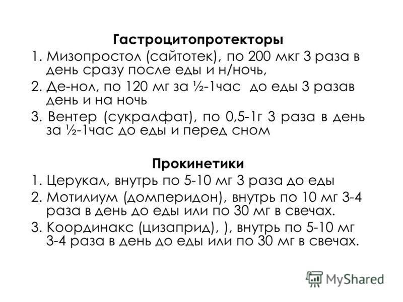 Гастроцитопротекторы 1. Мизопростол (сайтотек), по 200 мкг 3 раза в день сразу после еды и н/ночь, 2. Де-нол, по 120 мг за ½-1 час до еды 3 разав день и на ночь 3. Вентер (сукралфат), по 0,5-1 г 3 раза в день за ½-1 час до еды и перед сном Прокинетик