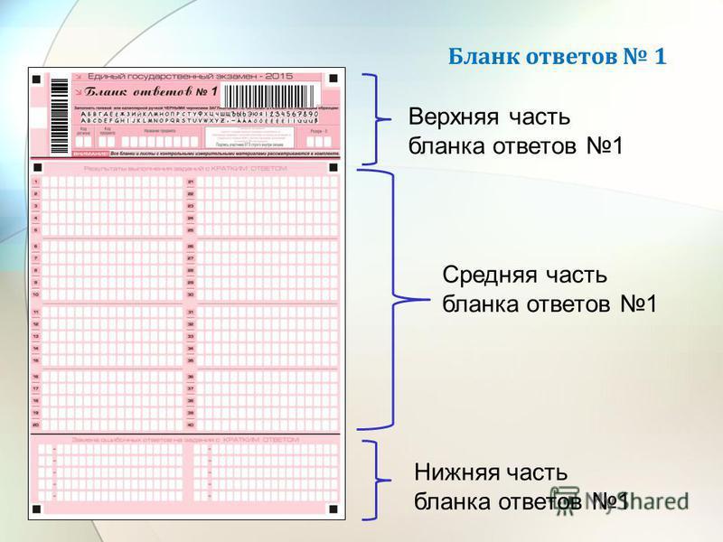 Бланк ответов 1 Верхняя часть бланка ответов 1 Средняя часть бланка ответов 1 Нижняя часть бланка ответов 1