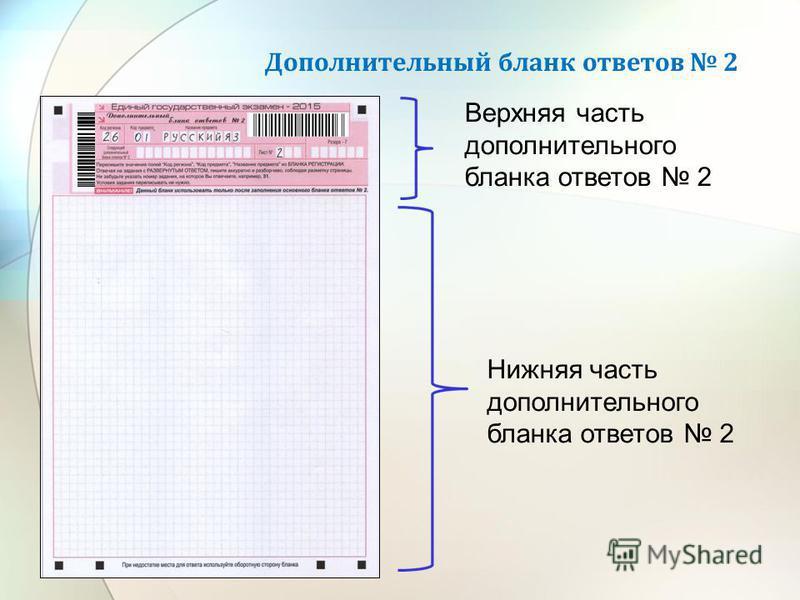 Дополнительный бланк ответов 2 Верхняя часть дополнительного бланка ответов 2 Нижняя часть дополнительного бланка ответов 2