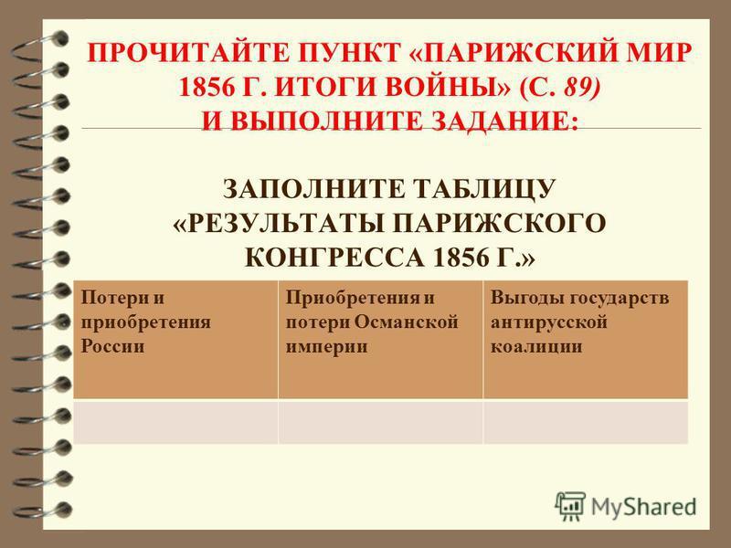 ПРОЧИТАЙТЕ ПУНКТ «ПАРИЖСКИЙ МИР 1856 Г. ИТОГИ ВОЙНЫ» (С. 89) И ВЫПОЛНИТЕ ЗАДАНИЕ: ЗАПОЛНИТЕ ТАБЛИЦУ «РЕЗУЛЬТАТЫ ПАРИЖСКОГО КОНГРЕССА 1856 Г.» 1.... Потери и приобретения России Приобретения и потери Османской империи Выгоды государств антирусской коа