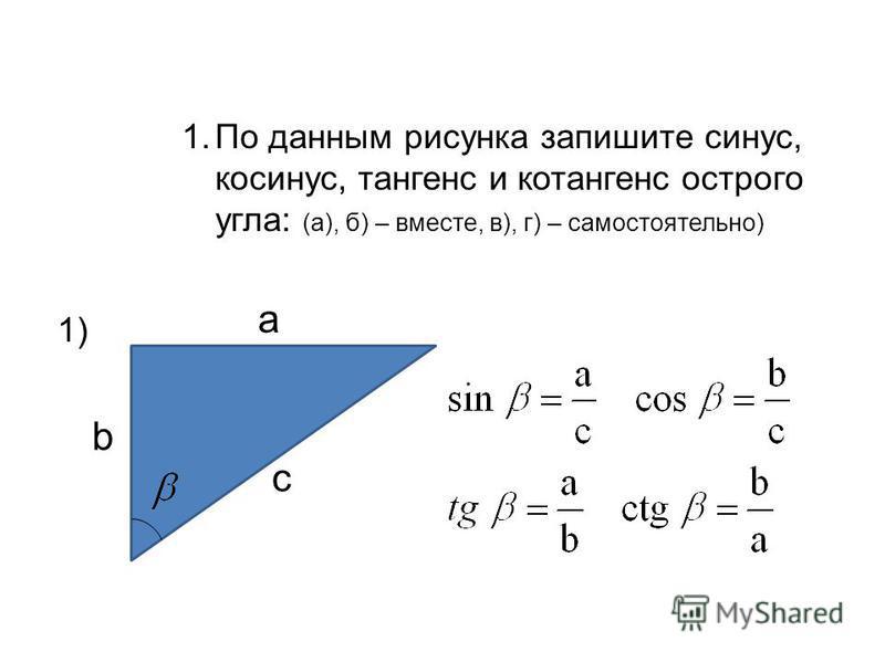 Решение задач: 1. По данным рисунка запишите синус, косинус, тангенс и котангенс острого угла: (а), б) – вместе, в), г) – самостоятельно) 1) a b c