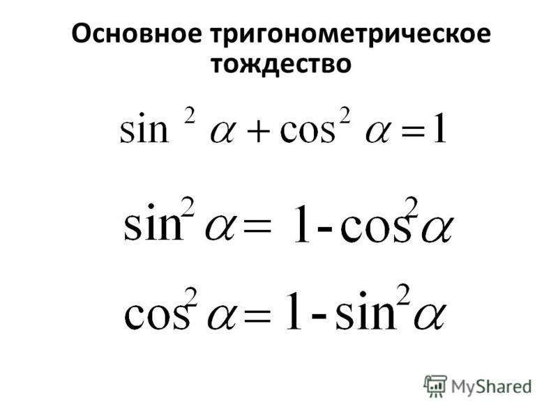 Из основного тригонометрического тождества выразите Основное тригонометрическое тождество