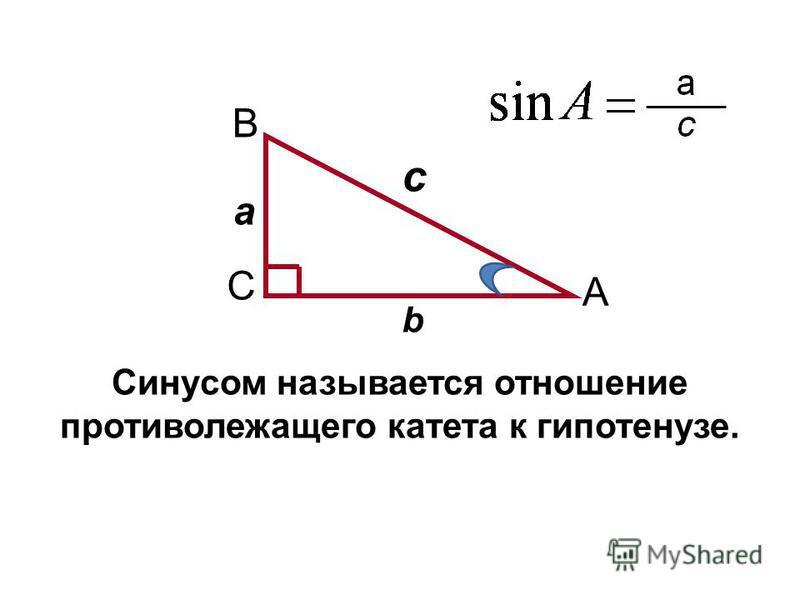 A C B а b c Синусом называется отношение противолежащего катета к гипотенузе.
