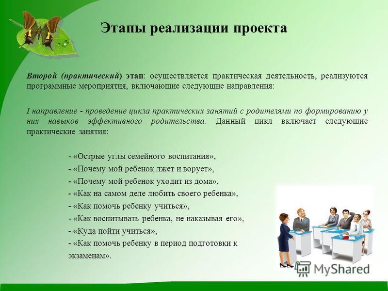 Второй (практический) этап: осуществляется практическая деятельность, реализуются программные мероприятия, включающие следующие направления: I направление - проведение цикла практических занятий с родителями по формированию у них навыков эффективного