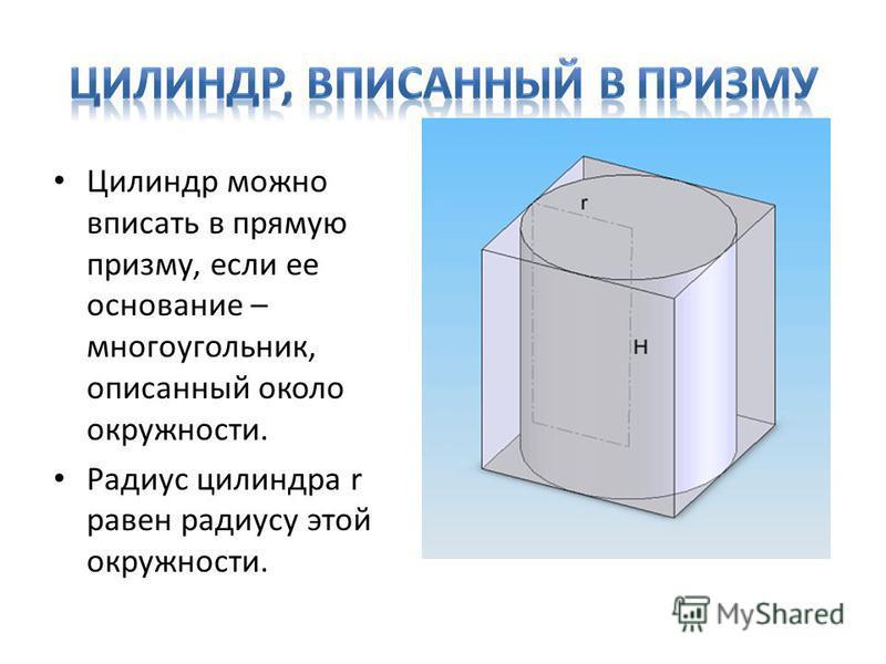 Цилиндр можно вписать в прямую призму, если ее основание – многоугольник, описанный около окружности. Радиус цилиндра r равен радиусу этой окружности.