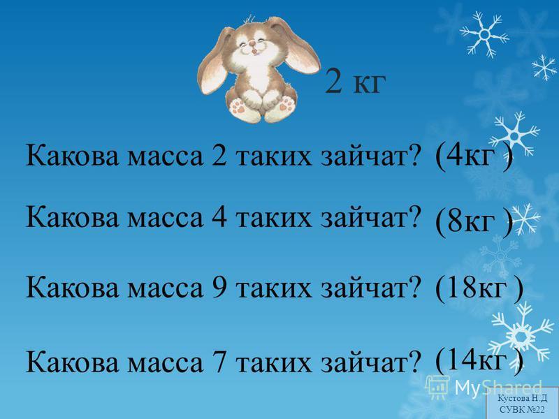 Какова масса 2 таких зайчат? Какова масса 4 таких зайчат? Какова масса 9 таких зайчат? Какова масса 7 таких зайчат? 2 кг (8 кг ) (4 кг ) (18 кг ) (14 кг ) Кустова Н.Д СУВК 22