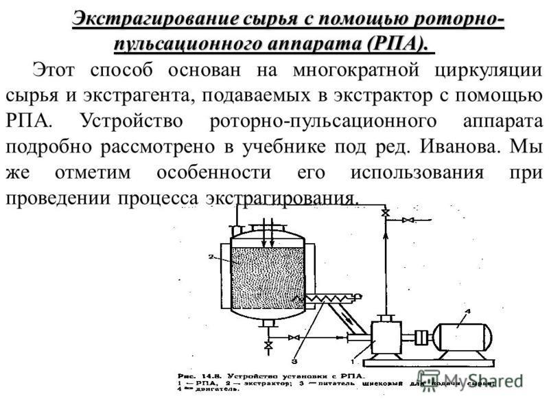 Экстрагирование сырья с помощью роторно- пульсационного аппарата (РПА). Экстрагирование сырья с помощью роторно- пульсационного аппарата (РПА). Этот способ основан на многократной циркуляции сырья и экстрагента, подаваемых в экстрактор с помощью РПА.