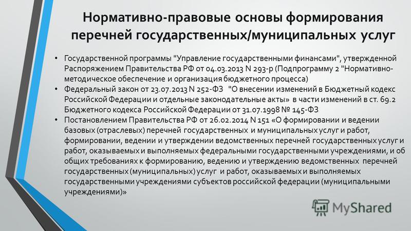 Нормативно-правовые основы формирования перечней государственных/муниципальных услуг Государственной программы