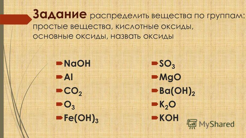 Задание распределить вещества по группам: простые вещества, кислотные оксиды, основные оксиды, назвать оксиды NaOH Al CO 2 O 3 Fe(OH) 3 SO 3 MgO Ba(OH) 2 K 2 O KOH