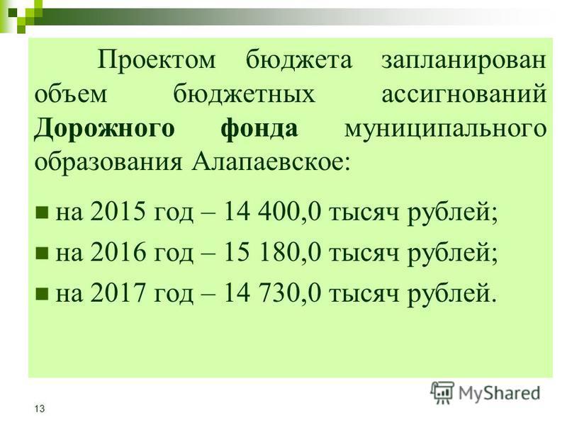 Проектом бюджета запланирован объем бюджетных ассигнований Дорожного фонда муниципального образования Алапаевское: на 2015 год – 14 400,0 тысяч рублей; на 2016 год – 15 180,0 тысяч рублей; на 2017 год – 14 730,0 тысяч рублей. 13