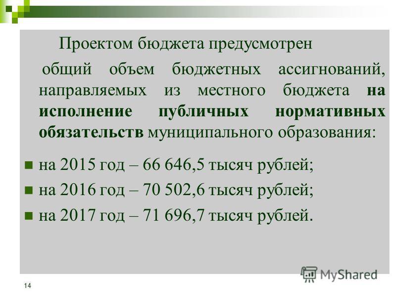 Проектом бюджета предусмотрен общий объем бюджетных ассигнований, направляемых из местного бюджета на исполнение публичных нормативных обязательств муниципального образования: на 2015 год – 66 646,5 тысяч рублей; на 2016 год – 70 502,6 тысяч рублей;