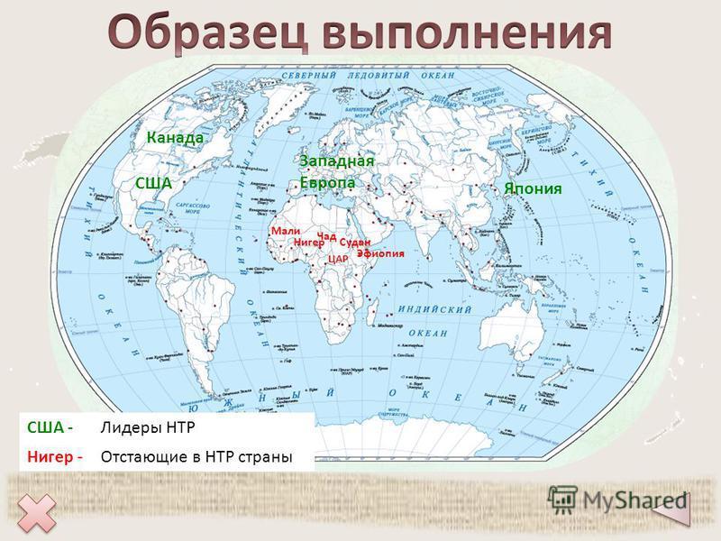 США Канада Западная Европа Япония Мали Нигер Чад ЦАР Эфиопия Судан США -Лидеры НТР Нигер -Отстающие в НТР страны
