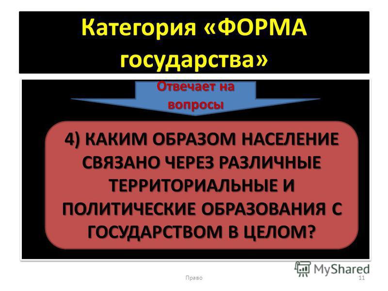 Категория «ФОРМА государства» Право 11 Отвечает на вопросы 4) КАКИМ ОБРАЗОМ НАСЕЛЕНИЕ СВЯЗАНО ЧЕРЕЗ РАЗЛИЧНЫЕ ТЕРРИТОРИАЛЬНЫЕ И ПОЛИТИЧЕСКИЕ ОБРАЗОВАНИЯ С ГОСУДАРСТВОМ В ЦЕЛОМ?