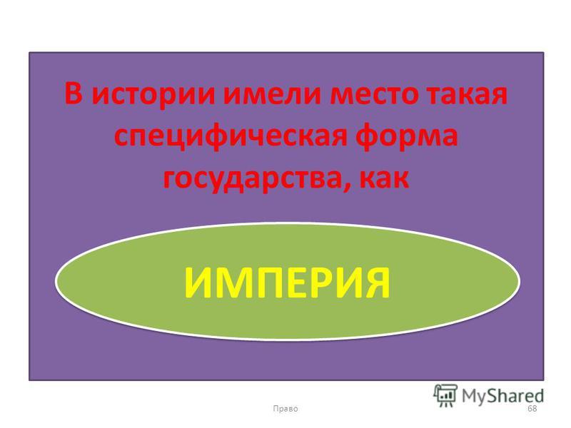 В истории имели место такая специфическая форма государства, как Право 68 ИМПЕРИЯ