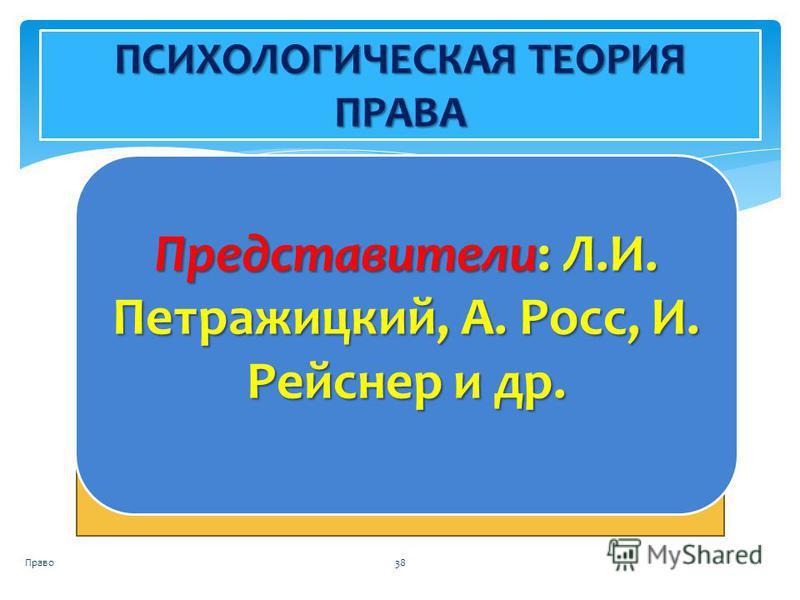 Право 38 ПСИХОЛОГИЧЕСКАЯ ТЕОРИЯ ПРАВА Представители: Л.И. Петражицкий, А. Росс, И. Рейснер и др.