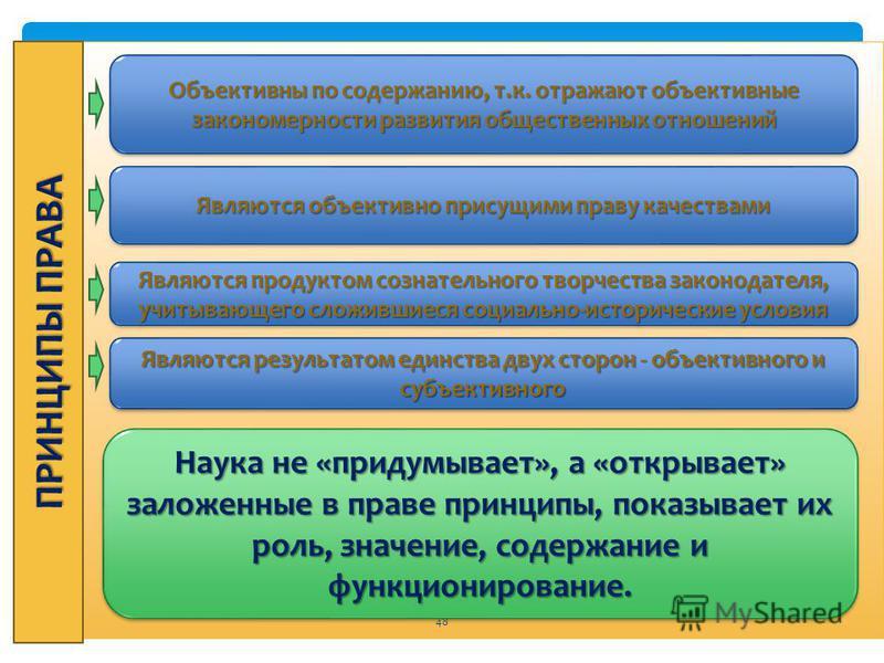 Право 48 Объективны по содержанию, т.к. отражают объективные закономерности развития общественных отношений Являются объективно присущими праву качествами Являются продуктом сознательного творчества законодателя, учитывающего сложившиеся социально-ис