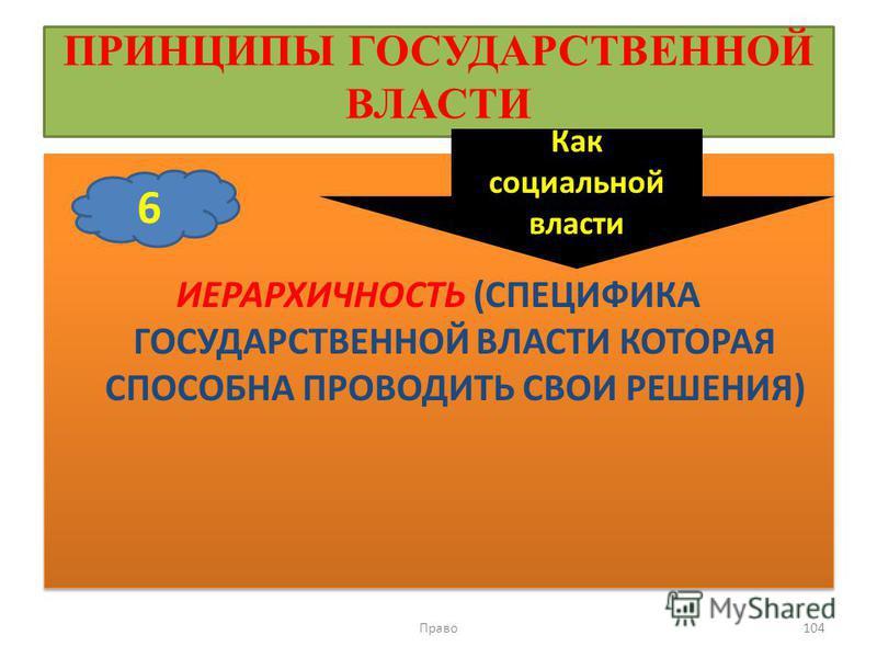 ПРИНЦИПЫ ГОСУДАРСТВЕННОЙ ВЛАСТИ ИЕРАРХИЧНОСТЬ (СПЕЦИФИКА ГОСУДАРСТВЕННОЙ ВЛАСТИ КОТОРАЯ СПОСОБНА ПРОВОДИТЬ СВОИ РЕШЕНИЯ) Право 104 6 Как социальной власти