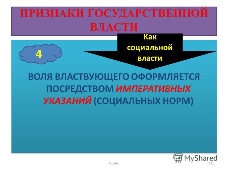 ПРИЗНАКИ ГОСУДАРСТВЕННОЙ ВЛАСТИ ВОЛЯ ВЛАСТВУЮЩЕГО ОФОРМЛЯЕТСЯ ПОСРЕДСТВОМ ИМПЕРАТИВНЫХ УКАЗАНИЙ (СОЦИАЛЬНЫХ НОРМ) Право 110 4 Как социальной власти
