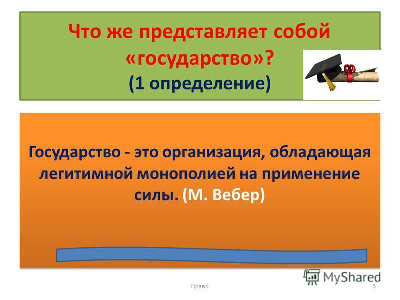 Что же представляет собой «государство»? (1 определение) Государство - это организация, обладающая легитимной монополией на применение силы. (М. Вебер) Право 5