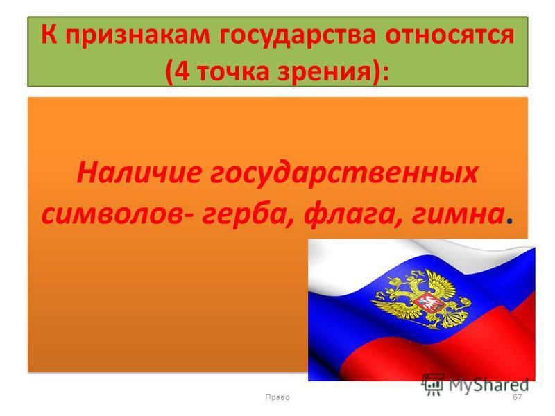 К признакам государства относятся (4 точка зрения): Наличие государственных символов- герба, флага, гимна. Право 67