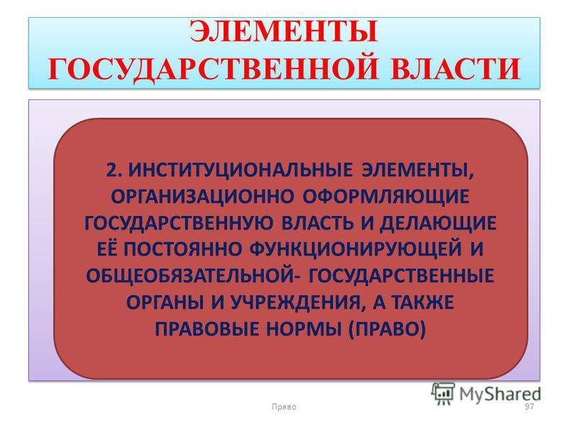 ЭЛЕМЕНТЫ ГОСУДАРСТВЕННОЙ ВЛАСТИ Право 97 2. ИНСТИТУЦИОНАЛЬНЫЕ ЭЛЕМЕНТЫ, ОРГАНИЗАЦИОННО ОФОРМЛЯЮЩИЕ ГОСУДАРСТВЕННУЮ ВЛАСТЬ И ДЕЛАЮЩИЕ ЕЁ ПОСТОЯННО ФУНКЦИОНИРУЮЩЕЙ И ОБЩЕОБЯЗАТЕЛЬНОЙ- ГОСУДАРСТВЕННЫЕ ОРГАНЫ И УЧРЕЖДЕНИЯ, А ТАКЖЕ ПРАВОВЫЕ НОРМЫ (ПРАВО)