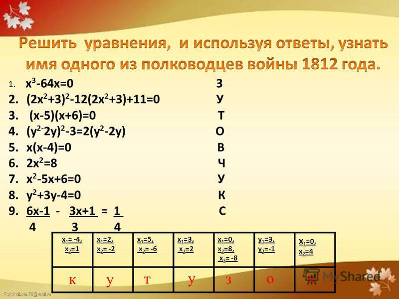 1. х 3 -64 х=0 З 2. (2 х 2 +3) 2 -12(2 х 2 +3)+11=0 У 3. (х-5)(х+6)=0 Т 4. (у 2- 2 у) 2 -3=2(у 2 -2 у) О 5. х(х-4)=0 В 6. 2 х 2 =8 Ч 7. х 2 -5 х+6=0 У 8. у 2 +3 у-4=0 К 9. 6 х-1 - 3 х+1 = 1 С 4 3 4 х 1 = -4, х 2 =1 х 1 =2, х 2 = -2 х 1 =5, х 2 = -6 х